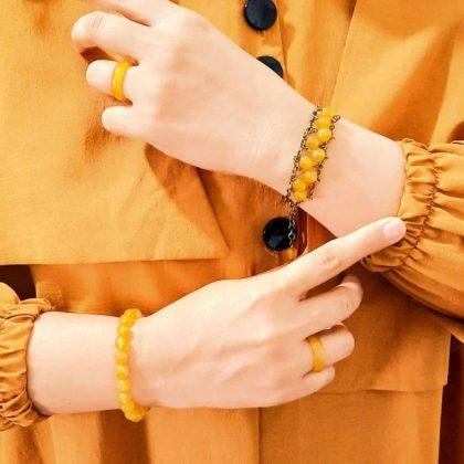 ست دستبند و حلقه عقیق زرد - ایران دایرکت